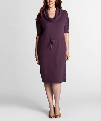 Aubergine Plum Three-Quarter Sleeve Dress - Plus