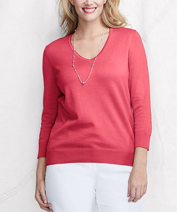 Coral Rock Supima Picot V-Neck Sweater - Plus