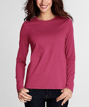 Blush Rose Heather Supima Crewneck Tee - Petite & Women