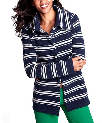 Deep Twilight & Ivory Stripe Snap Cardigan - Petite & Women