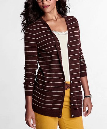 Raisin Stripe Merino Wool-Blend V-Neck Cardigan - Petite & Women