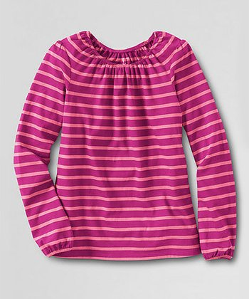 Bright Magenta Stripe Shirred Neck Tee - Toddler & Girls