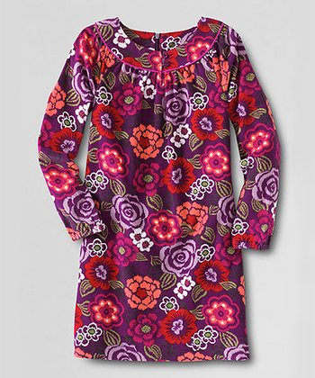 Cabbage Purple Shirred Neck Corduroy Dress - Toddler & Girls