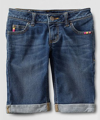 Classic Wash Rolled Up Denim Shorts - Toddler & Girls