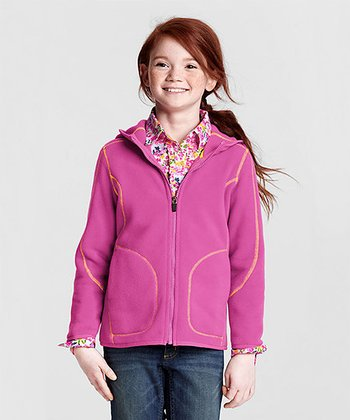 Light Magentanta Polartec Aircore 200 Hoodie - Girls