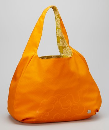Tangerine & Antique Moss Clouds Reversible Tote