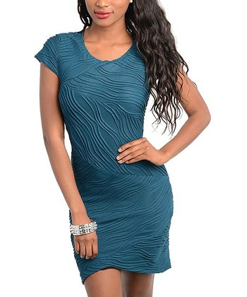 Teal Wave Cap-Sleeve Sheath Dress