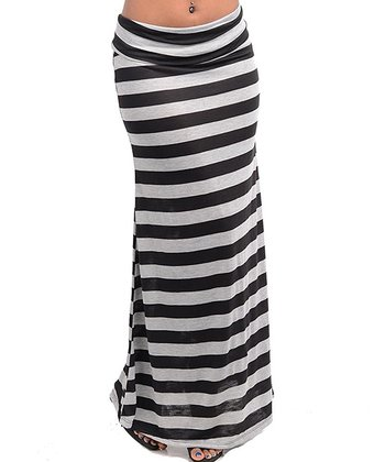 Light Gray & Black Stripe Maxi Skirt