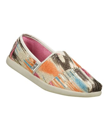 White & Pink Slip-On shoe