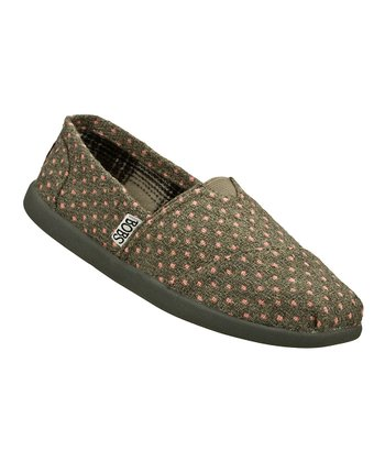Gray Polka Dot Slip-On Shoe