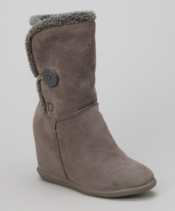 Gray Button Tom Wedge Boot