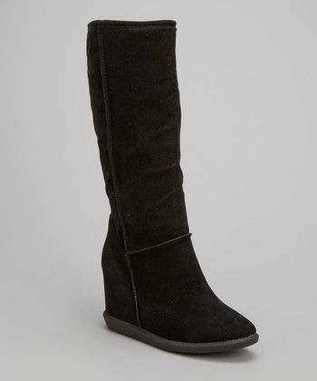 Black Tom Wedge Tall Boot