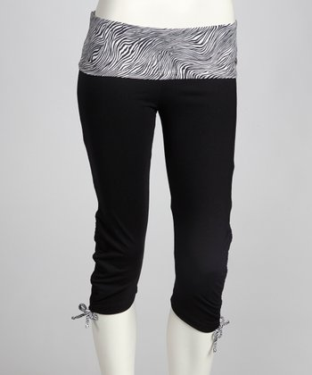 Black & Metal Zebra Ambition Capri Pants