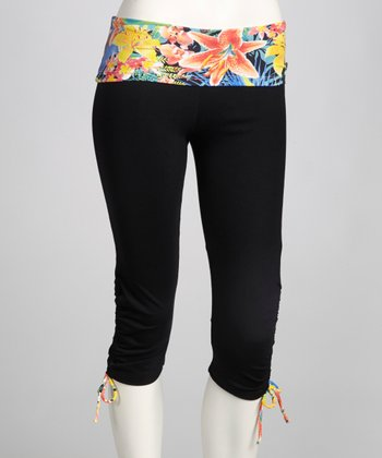 Black & Wood Lilies Ambition Capri Pants