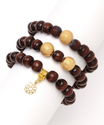 Dark Brown Wood & Gold Stretch Bracelet Set