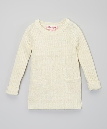 Cream Metallic Cable-Knit Sweater Dress - Infant