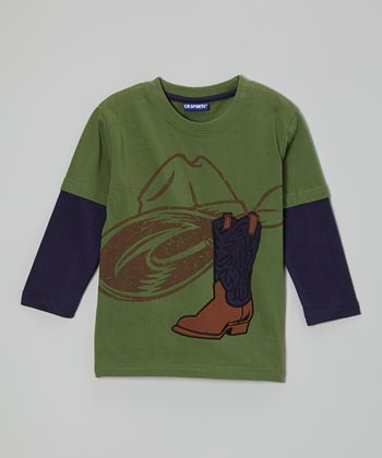 Olive Cowboy Layered Tee - Infant