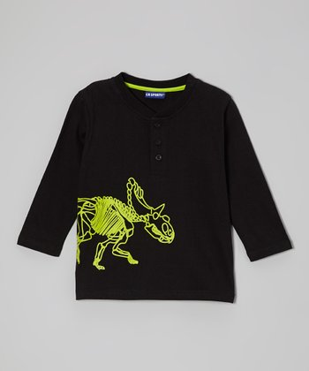 Black Dino Glow in the Dark Henley - Infant & Toddler