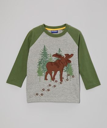 Heather Gray Moose Raglan Tee - Infant & Toddler