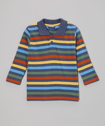 Green & Blue Stripe Polo - Toddler & Boys