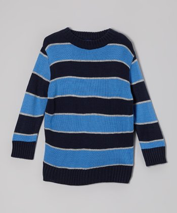 New Blue & Black Stripe Sweater - Toddler & Boys