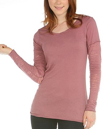 Antique Rose Burnout-Sleeve Layered Top