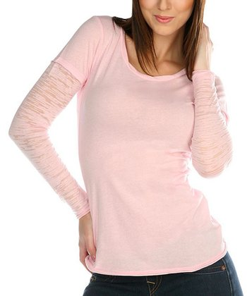Light Pink Burnout Sleeve Layered Top - Women & Plus