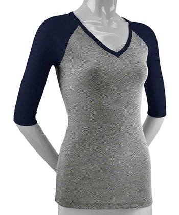 Gray & Navy Three-Quarter Sleeve Raglan Top