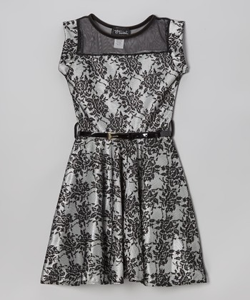 Ivory & Black Belted Skater Dress - Girls