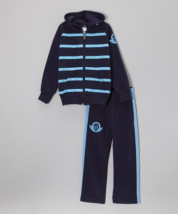 Navy Stripe Zip-Up Hoodie & Pants - Toddler & Boys
