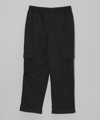 Black Plush Cargo Pants - Toddler & Boys