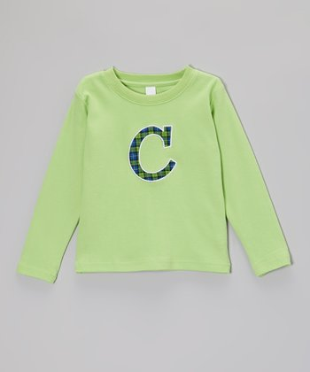 Lime & Green Plaid Initial Tee - Infant & Kids
