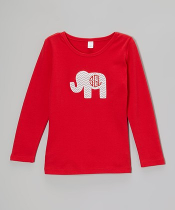 Red Zigzag Elephant Monogram Tee - Toddler & Boys