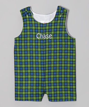 Navy & Green Plaid Personalized John Johns - Infant & Toddler