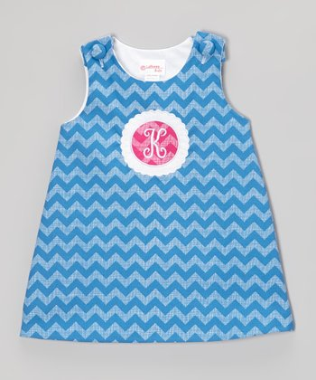 Blue & Fuchsia Zigzag Initial Jumper - Infant & Toddler