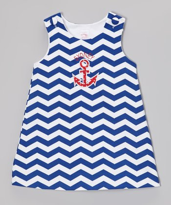 Navy & Red Zigzag Anchor Personalized Jumper - Infant & Toddler