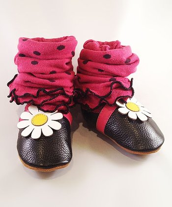 Black & Pink Daisy Bootie Legging Set