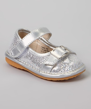 Laniecakes Silver Sparkle Buckle Squeaker Mary Jane