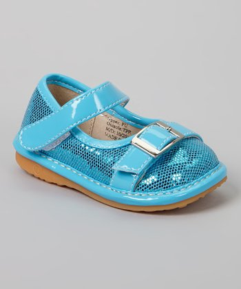 Laniecakes Teal Sparkle Buckle Squeaker Mary Jane
