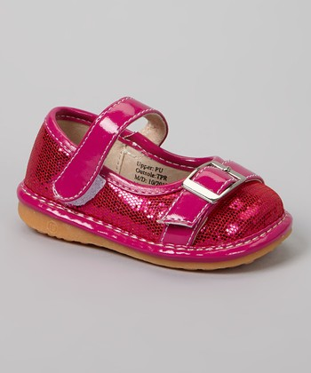 Laniecakes Hot Pink Sparkle Buckle Squeaker Mary Jane