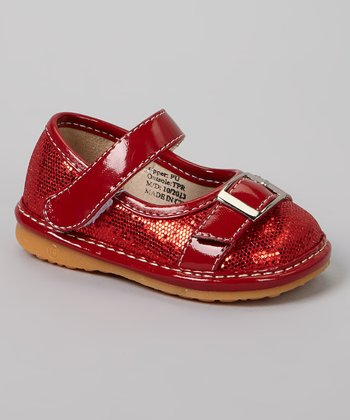Red Sparkle Buckle Squeaker Mary Jane
