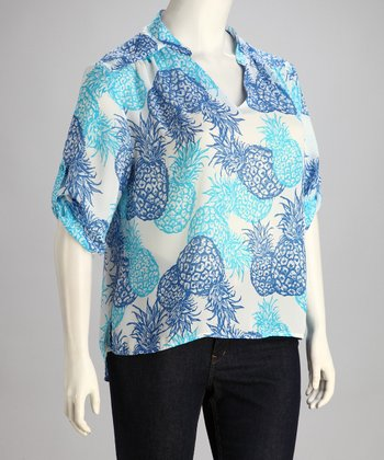 Blue Pineapple Plus-Size Top