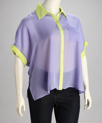 Purple & Yellow Color Block Plus-Size Top