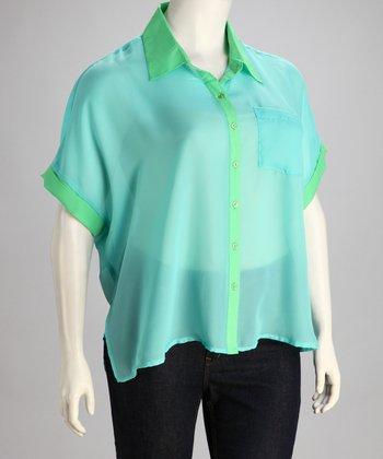 Turquoise & Green Color Block Plus-Size Top