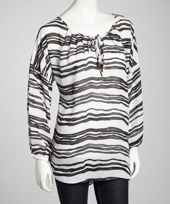 Black Sheer Stripe Three-Quarter Sleeve Top