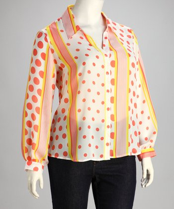 Orange & Yellow Polka Dot Stripe Plus-Size Button-Up