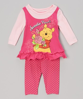 Pink Polka Dot 'Sweetie Pooh' Tunic & Leggings - Infant