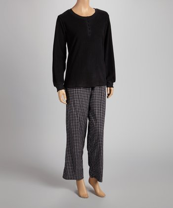 Black & White Plaid Henley Pajama Set - Women