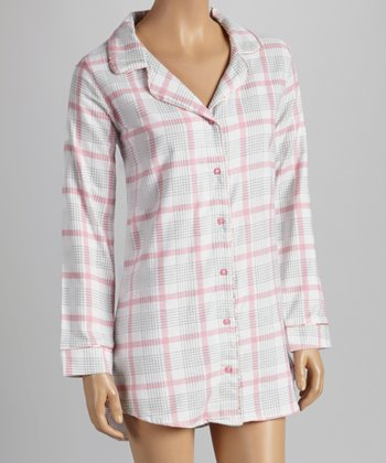 White & Pink Plaid Flannel Sleepshirt - Women