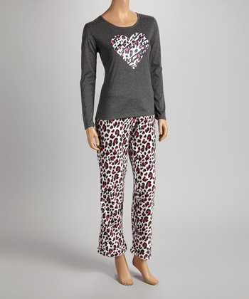 Gray & Pink Leopard Heart Pajama Set - Women